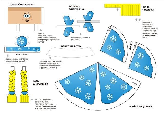 Распечатайте этот лист на принтере и, используя клей и ножницы, соберите Снегурочку.  Все инструкции на листе...