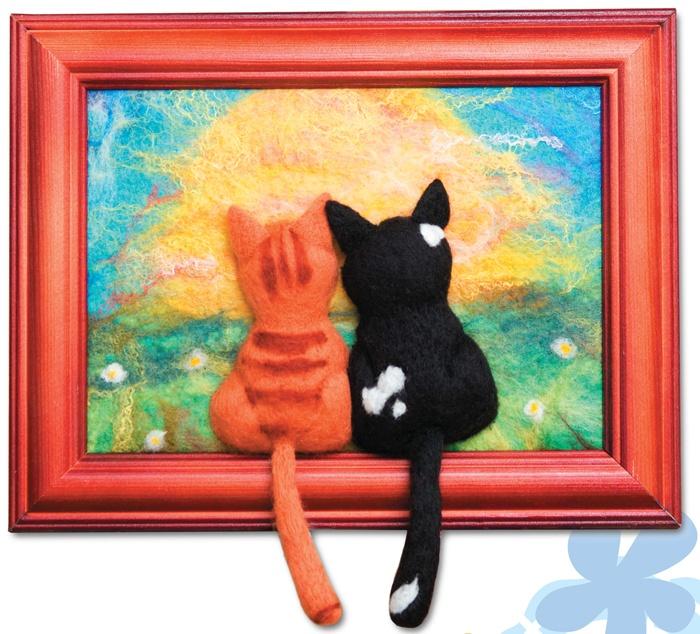 Картины котов валянием - Идеи для дома (часть 3) / коврики своими руками из лоскутков