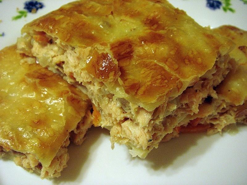 Пирог из слоеного теста с курицей рецепты с