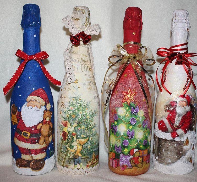 Оформляем бутылку своими руками на новый год