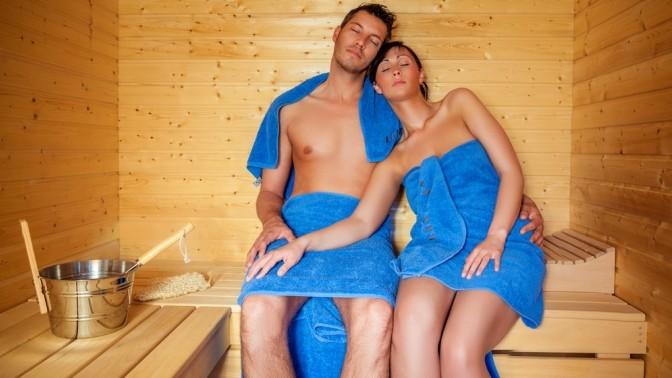 Мы с женой и друзья в бане очень