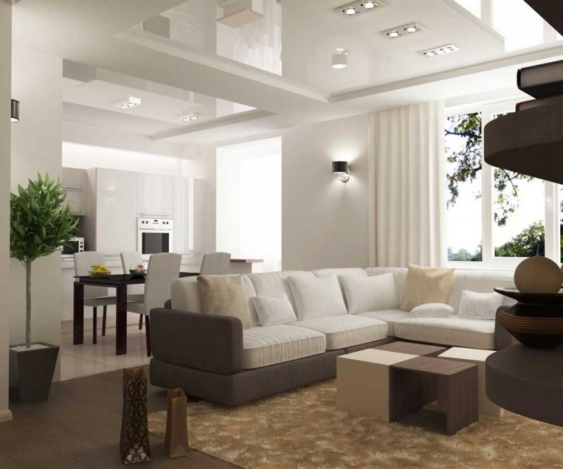 Дизайн натяжного потолка в гостиной-кухне