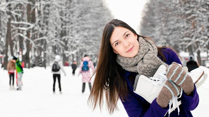 Посещение ледового катка в Дюссельдорфском парке или парке 850-летия Москвы