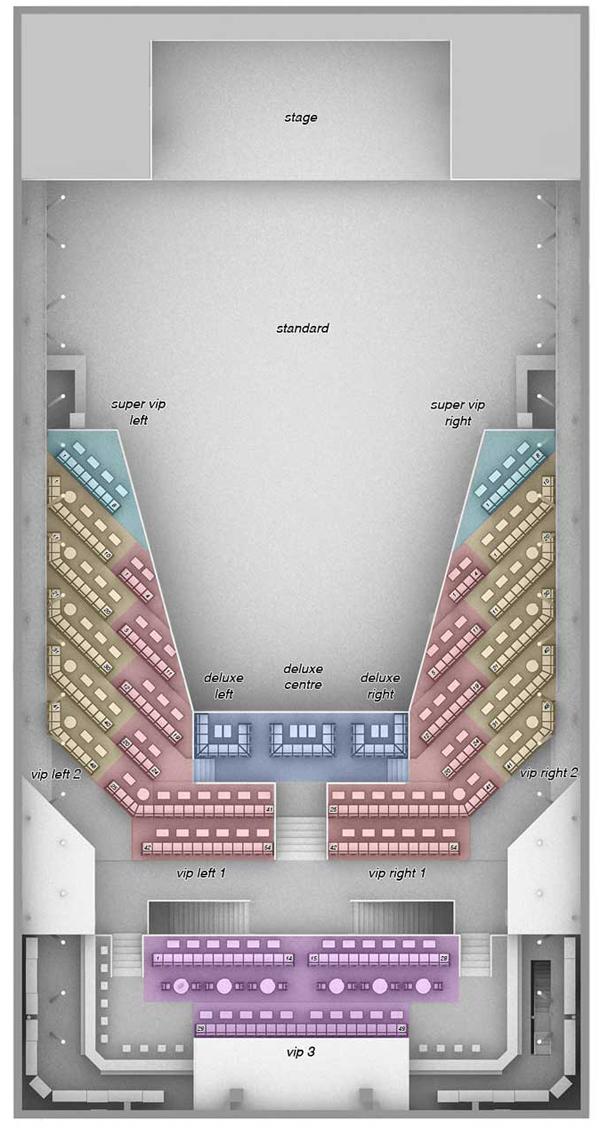 Клуб Arena Moscow.  Схема зала.