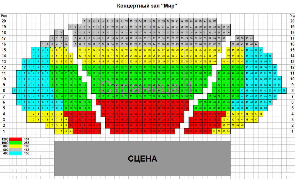 """Схема киноконцертного зала  """"МИР """" ."""
