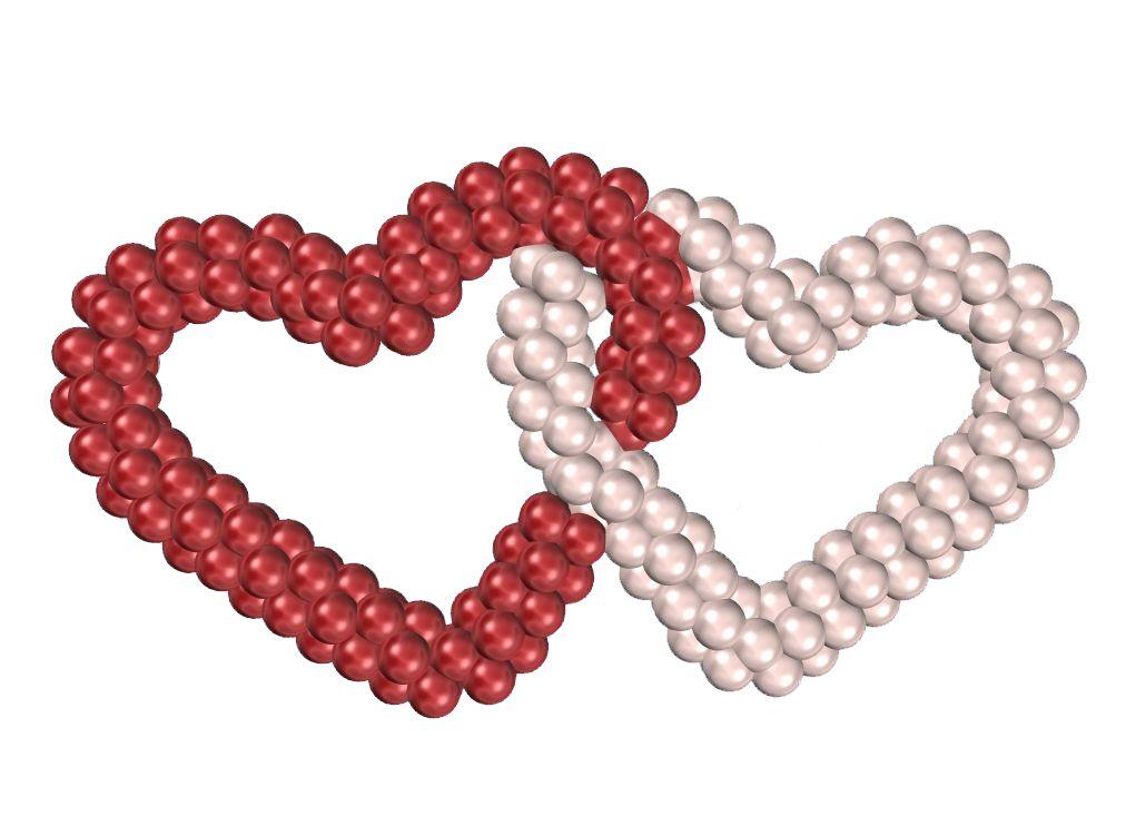 Двойное сердце из шаров - Willow-bag.ru