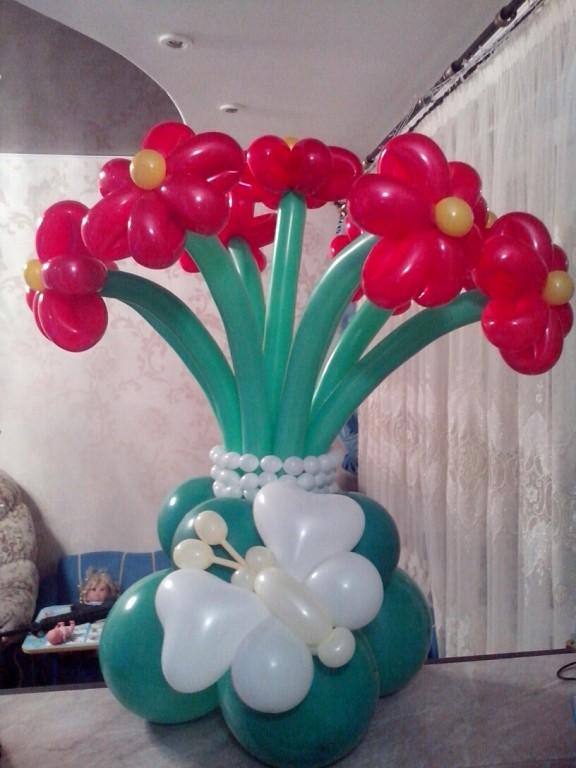 Цветы в вазе из шаров своими руками 77