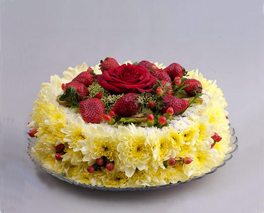 Открытка торт из цветов 62