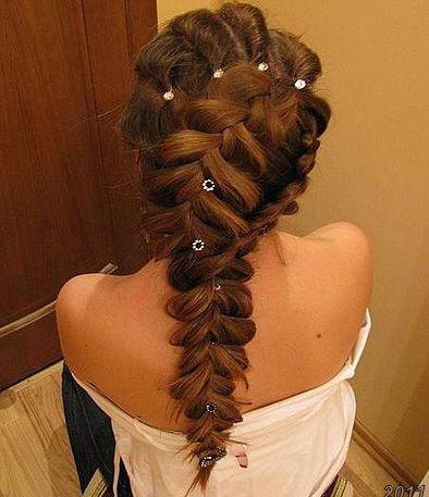 Картинки косы на средних волосах схема плетения - 26c9