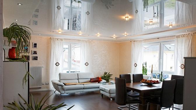 Изготовление иустановка классического натяжного потолка любой фактуры площадью до50кв.м