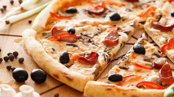 Пицца отслужбы доставки «Экспресс пицца» соскидкой50%