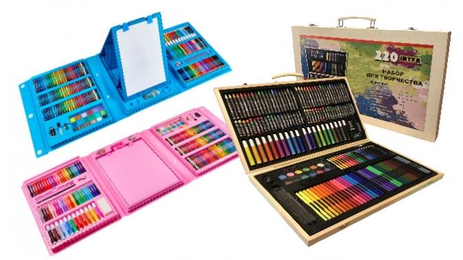 Набор для рисования итворчества врозовом, голубом или деревянном кейсе