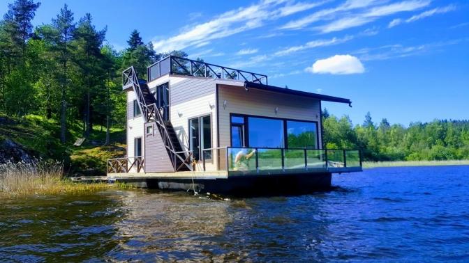 Отдых для компании спосещением сауны, пляжа, рыбалкой вдоме для отпуска HouseBoat Kovcheg