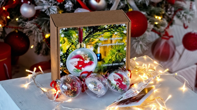 Печать живой фотографии нановогодний шар, календарь, кружку, футболку либо магнит отстудии фотоподарков Virinka