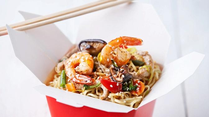 Лапша или рис вкоробке wok отресторана доставки «Мир суша»