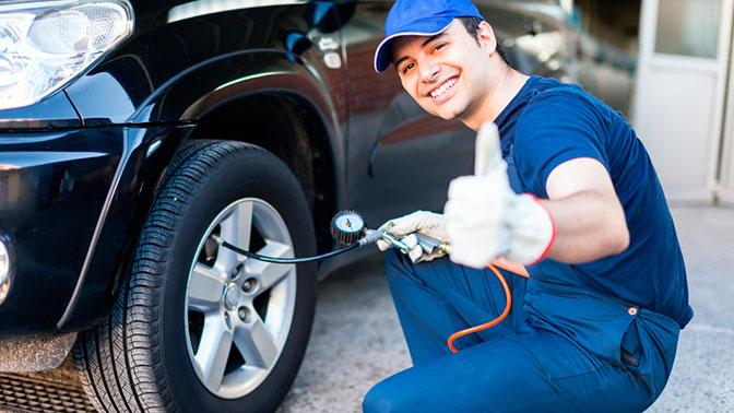 Шиномонтаж 4колес легкового автомобиля, кроссовера или внедорожника срегулировкой балансировки откомпании «Форсаж»