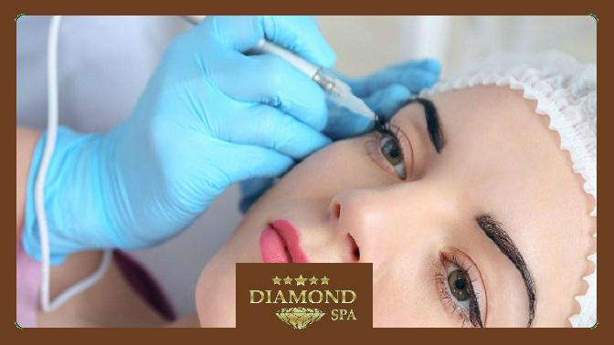 Перманентный макияж бровей, век или губ утоп-мастера всалоне красоты Diamond SPA