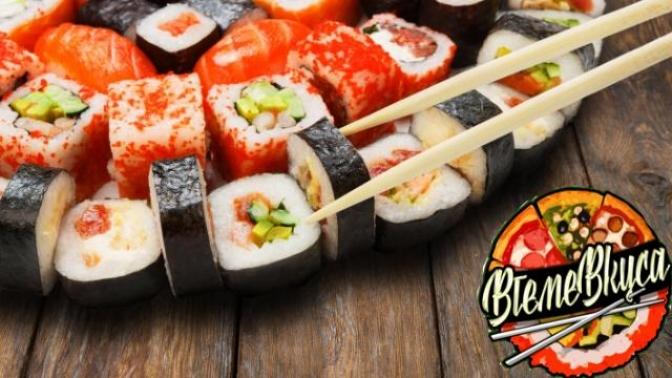 Всё меню японской, итальянской имексиканской кухни отслужбы доставки «Втеме вкуса» соскидкой50%